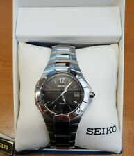 SEIKO COUTURA BLACK DIAL DATE SAPPHIRE CRYSTAL STEEL MEN'S WATCH SGEA41 NEW