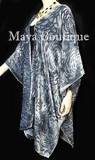 Dusk Gray Camellia Burnout Velvet Caftan Kimono Jacket Maya Matazaro Hand Dyed