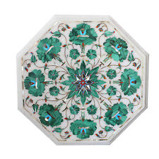 "12""x12"" Marble Center Table Top Malachite Marquetry Inlaid Mosaic Home Art Gifts"