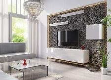 Wohnwand VEX 16 Anbauwand Mediawand Weiß Schwarz Hochglanz TV Möbel Set Schrank