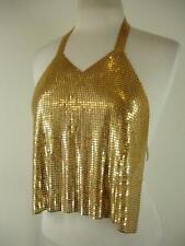 Womens XS S Diamant Noir Paris Vintage 1980's Disco Gold Metal Mesh Halter Top
