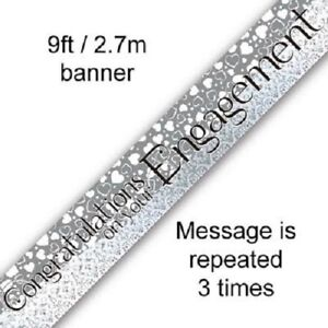 Engagement Congratulations Silver Foil Banner Bunting Party Decorations (9ft)