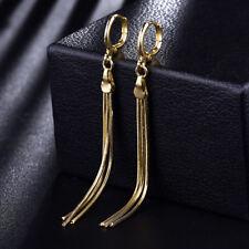 6.8cm Tassel Dangle Yellow Gold Filled Women Lady Wedding Party Hoop Earring BOX