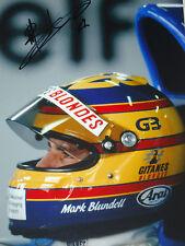 Mark Blundell  SIGNED, 12x8 , F1 Ligier Helmet Portrait ,1993 Grand Prix Season