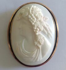 Antique Victorian 9ct Gold Angel Skin Cameo Brooch With Black Enamel Border