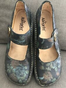 Alegria Mary Jane Paloma Shoes Black Floral Uk 8 Leather Flora Rose Wide Fit