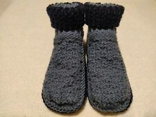 [SALE!] Mens Hand knitted cozy Grey Slippers Handmade Indoor Shoes