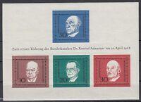 Germany Bund BRD 1968 ** Bl.4 Adenauer Churchill De Gasperi Schuman Politicians