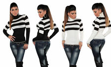 Waist Length Polo Neck Striped Jumpers & Cardigans for Women