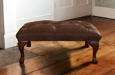 Chesterfield Queen Anne foot stool presented in vintage brown leather.