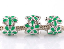 3P silver green flowers LAMPWORK spacer beads Charm fit European Bracelet #F993