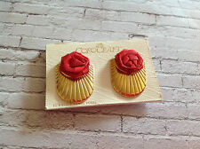 Vintage gold tone shell shape COROCRAFT earrings with red roses