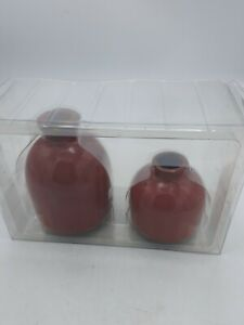 Hearth And Hand With Magnolia 2pc Bottleneck Stoneware Bud Vase Set Red