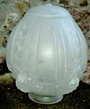 Ancien Globe Tulipe arten Pâte de Verre pour Suspension Lustre ou Lampe H. 22 cm