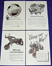 Lot of 4 Ads from 1945 ~ At&T Bell Telephone System ~ Wwii Theme