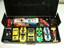 Vintage HO Slot Car Lot: 10 Cars, 2 Bodies, Lots of Parts, Case - Aurora / AFX