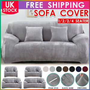 UK Sofa Covers Stretch Protector Soft Couch Slip Cover Thick Plush Velvet 4 Size