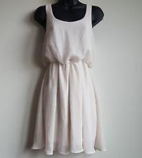 Lush Womens Sz XS Ivory Cream Sheer Sleeveless Scoopneck Blouson Dress Elastic