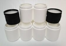 (Lot of 50) 20oz Empty HDPE White Plastic Jars with Lids & Sealers - NEW