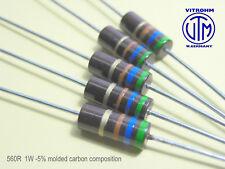 Resistencia de carbono composición Vintage 10x 1W 2R7 2.7 ohmios EJ02