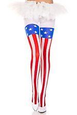 AMERICAN FLAG PRINT OPAQUE Pantyhose 12% SPANDEX Tights PATRIOTIC 70 Denier
