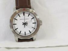 NEW Men's Armani Exchange Silvertone Watch Leather Band AX1903 Luminous