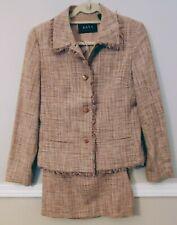 Dana Buchman Natural Tan 100% silk Woven Skirt Suit Blazer Jacket Fringe Trim 8
