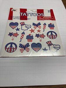 Temporary Tattoos*PATRIOTIC*Red/White/Blue*19 PCs *Asst Design*NEW In Pkg