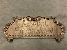 National Brass Cash Register Red Brass 216 Size Tarnished Repro Top Sign