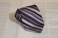 TED BAKER Purple Striped Classic Woven 100% Silk Tie