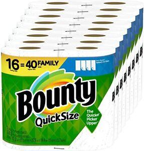 Bounty Quick-Size Paper Towels, 16 Family Rolls = 40 Regular Rolls - NEW