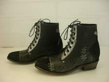 Womens 8 B M OG by Old Gringo Black Leather Cowboy Boots Lace-Up Cap Toe Ankle