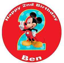 Mickey Mouse 2nd Birthday Personalised Cake Topper Edible Wafer Paper 7.5""