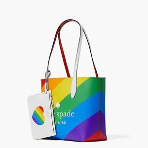 Kate Spade Rainbow Pride Reversible Tote & Heart Pouch Wristlet