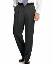 Perry Ellis men's Melange Microfiber Caviar/Black 44x30 Classic Pleated Pant
