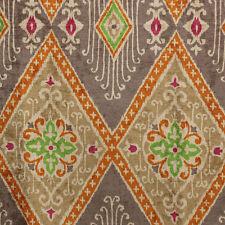 """Ikat Diamond Nectar 100% polyester 54"""" Orange, Green Heavy Velvet Print"""