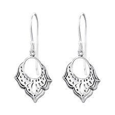925 Genuine Sterling Silver Pretty Drop Intricate Cutout Earrings