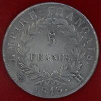 FRANCE 5 FRANCS NAPOLEON EMPEREUR 1813 H