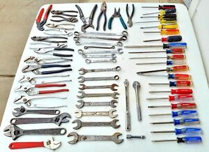 🇺🇸 LOT OF 60 TOOLS~ALL MADE IN USA 🇺🇸 Klein Craftsman Crescent JH Williams!