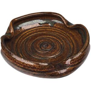"Turn & Burn Pottery 5"" Ashtray Seagrove NC 1986 - Brown Folded 3  Holder Cigar"