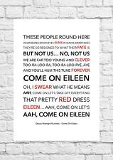 Dexys Midnight Runners - Come On Eileen - Song Lyric Art Poster - A4 Size
