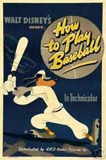 Vintage Walt Disney's Goofy How To Play Baseball Lobby Movie Print Poster 8127