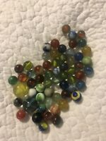 Vintage Round Cats Eye Solid Akro Agate Clear Colored MARBLES Shooters Lot Balls