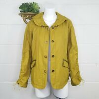 Coldwater Creek Mustard Yellow Ruched Sleeve Jacket Size 14P Detailed Collar