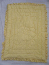 """Baby Crib Quilt Vintage 1950s/60s Yellow Gingham 39"""" x 27.5"""" Padded Dacron"""