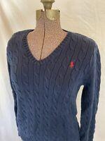 Ralph Lauren Women's Navy Blue V Neck Long Sleeve Cable Knit Sweater Sz L Large