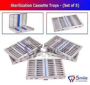 Sterilization Cassette Rack Tray Set Of 5 - Holds 10 Dental Surgical Instrument