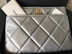 Chanel 19 O Case Quilted Grey Metallic Leather Clutch Large Bag Pouch Silver NWB
