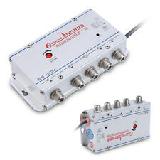 Home 4-Way Output CATV Cable TV Antenna Signal Amplifier AMP Booster Splitter