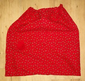 Small Cotton Santa Sack in Red Cotton Fabric with a holly pattern